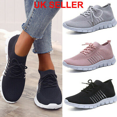 Women Ladies Breathable Trainers Running Sneakers Lace Up Mesh Sport Gym Shoes