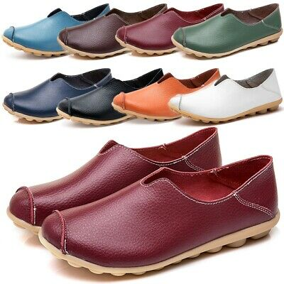 Women's Moccasin Lazy Shoes Slip On Loafers Driving Flat Pumps Boat Shoes 35-43