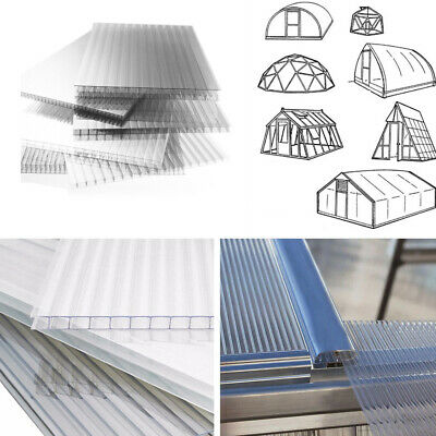 4mm Polycarbonate Sheets Greenhouse Replacement Glazing Panel Twinwall 6-24pcs