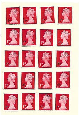 20 x 1st Class First Class Genuine UNFRANKED POST OFFICE RED STAMPS EASY PEEL