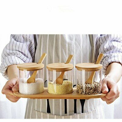 3Pcs Spice Glass Jar Bamboo Storage Holder Spice Container Wood Lid Set