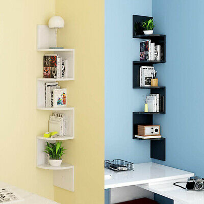 5 Tier Floating Wall Shelves Corner Shelf Storage Display Bookcase White UK