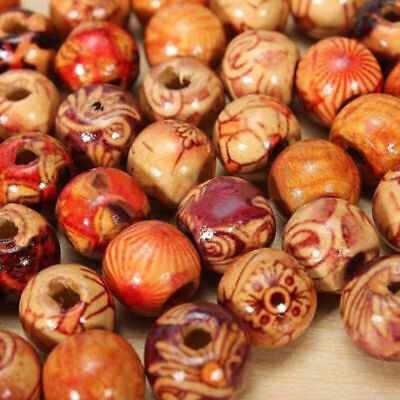 100 Pcs 10mm Mixed Charm Round Wood Loose Beads Popular For Jewelry Making T8H5