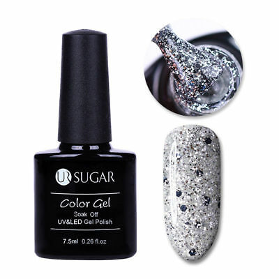Esmalte Permanente UR SUGAR GEL POLISH SOAK OFF Oferta Color Silver Glitter 7,5m