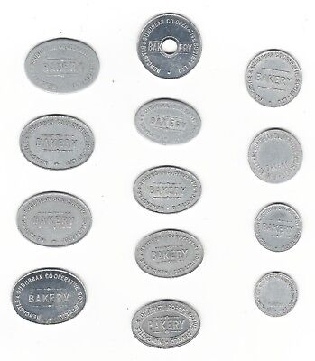 13 NEWCASTLE SUBURBAN CO-OP BAKERY tokens - Half & One LOAF - all different