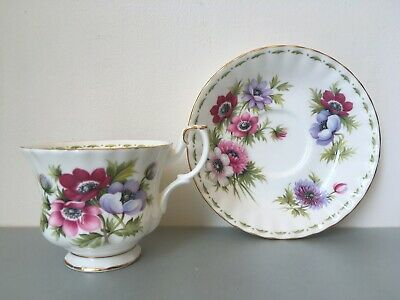 Vintage Royal Albert, March, Flower of the Month Cup & Saucer, Pink Flowers