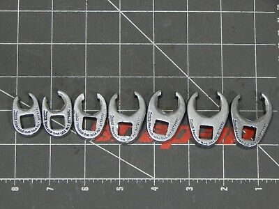 """Snap On Tool 7Pc SAE 3/8"""" Dr Flare Nut Crowfoot Wrench Set 3/8"""" 3/4"""" 6Pt 207SFRH"""
