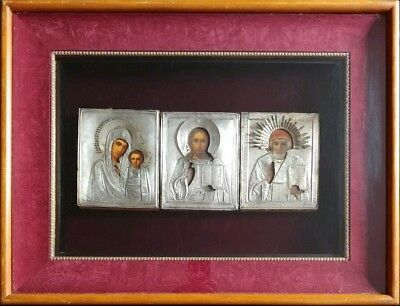 ANTIQUE 19c PAINTED(3) RUSSIANS 84 SILVER ICONS STNICHOLAS,CHRIST,MOTHER KIOT