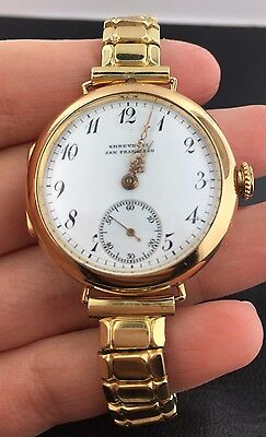 Antique 18k yellow gold Shreve Co. San Fran Watch W/ Patek Philippe movement