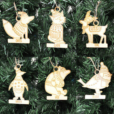 Personalised Animal Christmas Baubles - Wooden Xmas Tree Decoration Laser Cut
