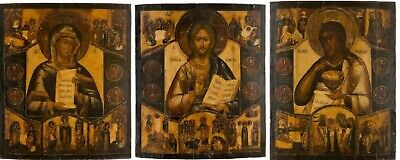 ANTIQUE 19c THREE RUSSIANS ICONS DEESIS,CHRIST,MOTHER OF GOD,JOHN BAPTIST