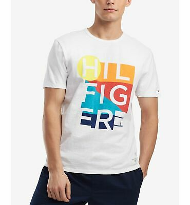 $97 Tommy Hilfiger Men'S White Short Sleeve Graphic Logo Crew-Neck T Shirt Xs