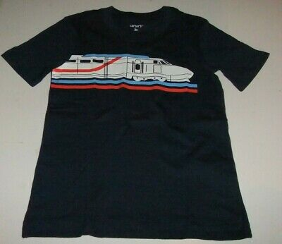 NWT CARTER'S Boys 3T Bullet Train Graphic T-Shirt Blue Short Sleeves 100% Cotton