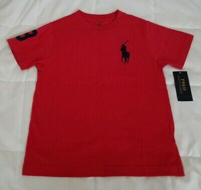 POLO Ralph Lauren Boys Cotton Tshirt Size 6 Red W/Blue Big Pony and #3 on Sleeve