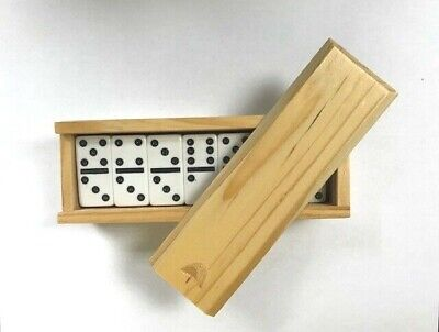 Premium Set of 28 Double Six Dominoes with Plain Wood Case - NEW D6 Domino Set