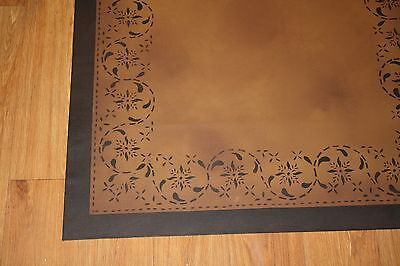 "Floorcloth 2'X3' ""SERENADE"" Beautiful Hand-Painted Primitive Colonial Area Rug"