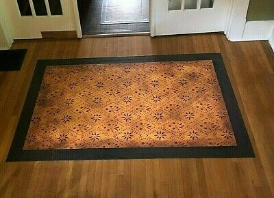 "Floorcloth 5'X7' ""CONCERTO"" Beautiful Hand-Painted Primitive Colonial Area Rug"