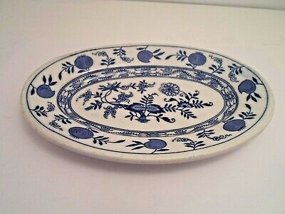 Antique Blue Onion Pattern Cauldon Vitrified Ware Made In England Small Oval Sid