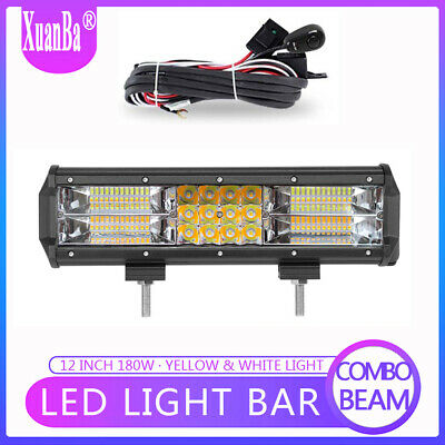 12 Inch 180W LED Work Light Bar Spot Flood Combo Offroad Fog Driving 4WD Reverse