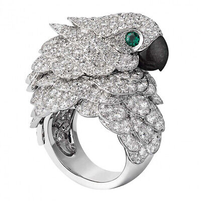 8.6CT White Topaz Emerald Eagle Parrot 925 Silver Ring Wedding Engagement 6-10