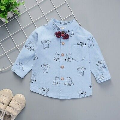 Fall Baby Boys Long-Sleeve Cartoon Dog Print T-Shirts Tops Tees Shirts Blouse