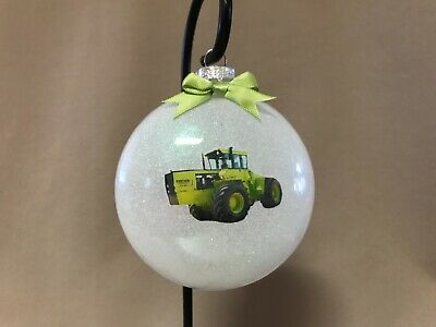 """Handmade Steiger Tractor 4"""" Round Glass Disk Shaped Ornament~Made In The USA~NEW"""