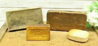 Antique Lot Of 4 Pieces Larkin Buffalo N.Y Soap Large Collection Embossed Box