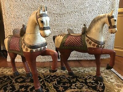 Beautiful Pair Of Old Original Antique Large Wooden Horses Hand Carved Painted