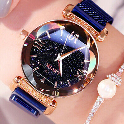 Stylish Ladies Watch Starry Sky Round Dial Women Bracelet Watches Magnetic Worth
