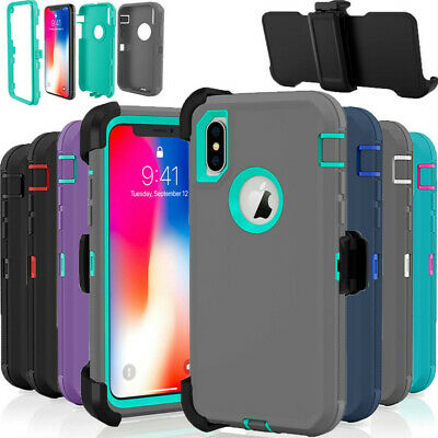 For Apple iPhone X XS XR XSMAX Case {Belt Clip Holster fits Otterbox Defender}