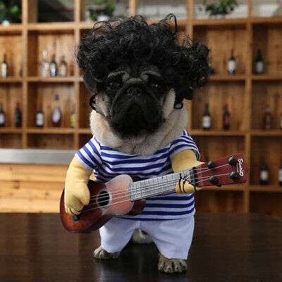 Pet Small Dog Cat Clothes Stripe Guitar Costume Cosplay Outfit Clothes Filmy