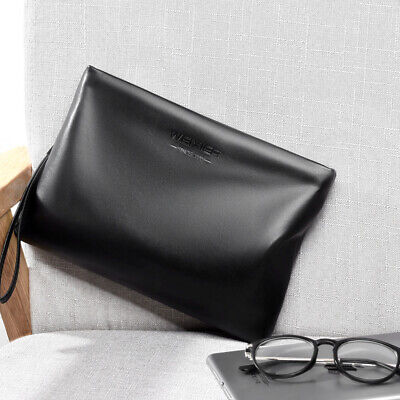 Mens Business PU Handbag Purse Clutch iPad Holder Pouch Wallet with Hand Strap