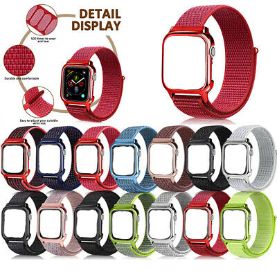 40/44mm Nylon Sport Loop iWatch Band Strap for Apple Watch Series 4 with PC Case