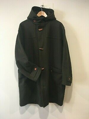 Italian made wool blend men's duffle coat with leather toggles, and hood