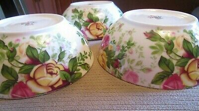 """Royal Albert """"Country Rose Chintz"""" Soup Cereal All Purpose Bowls Set Of 3  Mint"""