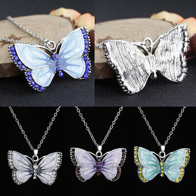 Vintage Enamel Butterfly Crystal Pendant Necklace Women Long Sweater Chain Acces
