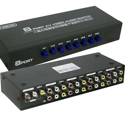 8 Way Audio Video AV RCA Switch Switcher Selector Box Splitter 8 In 1 Out To TV