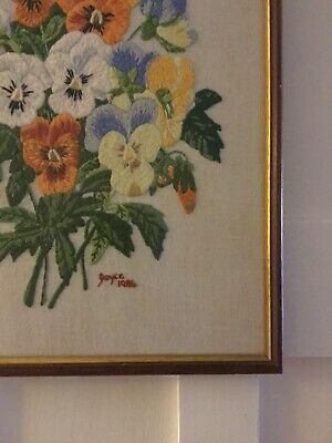 Crewel Embroidery Wood Framed Pansies Vintage Handmade Collectable Beautiful!
