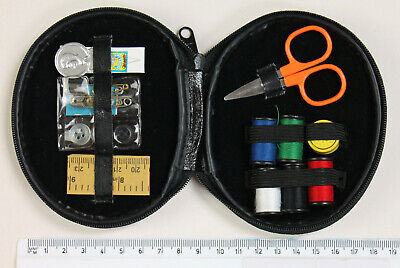 portable travel sewing kit case.  Needle Thread Tape Scissor Buttons Thimble