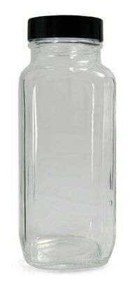 Qorpak GLC-01245 Clear Glass French Square Bottle - Lot of 48 *FAST FREE SHIP!*