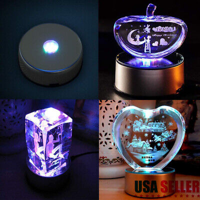7-LED Round Unique Rotating Crystal Colorful Light Base Electric Display Stand