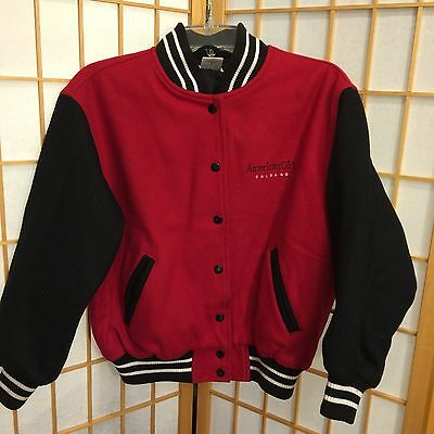 American Girl Chicago Nero Rosso Lana Trapuntato Varsity Giacca Bambine Tg. M