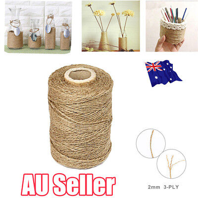 3Ply 100m Natural Brown Soft Jute Rope Twine Sisal String For Art Gift Bottle EE