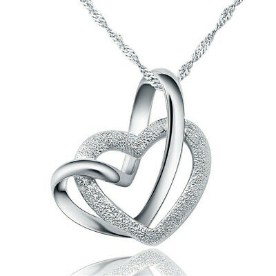 Fashion SS silver double heart pendants women's necklaces lover's best gift