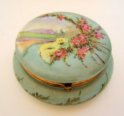 Sweet Box Decor Floral Painted Hand Opaline Green Antique Napoleon III