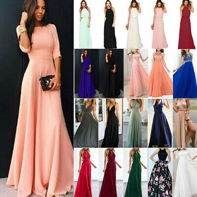 Womens Evening Formal Long Maxi Pleated Skater Dress Wedding Party Bridesmaid