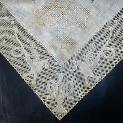 Exquisite Antique off-white linen Tablecloth with handmade Lace Griffins
