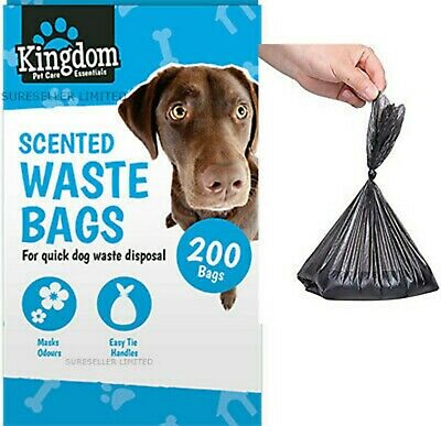 Doggy Bags Scented Dog Cat Puppy Poo Waste Poop Disposal Easy Tie Handle Scooper