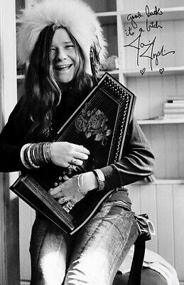 RARE Autographed Janis Joplin Beautiful Glossy 8x10 Photo Print