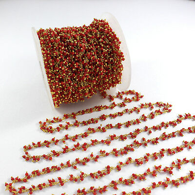 1 Feet Natural Red Coral 2mm Dangling Rosary Beaded Chain 925 Silver RE117